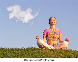 niña, meditación, cielo azul
