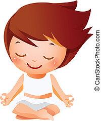 niña, meditar