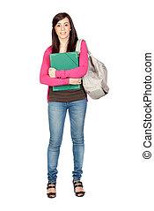 niña, mochila, estudiante