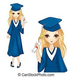niña, moda, bata, graduación