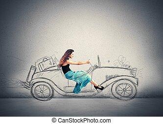 niña, moda, conduce