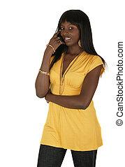 niña, moda, vestido, amarillo