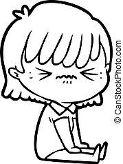 niña, molestado, caricatura, sentado
