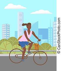 niña, mujer, bicicleta que cabalga, park., verde, carácter, oscuridad, verano, pelado, camino