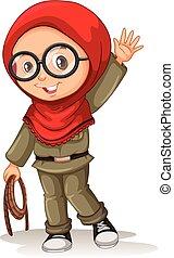 niña, musulmán, bufanda roja