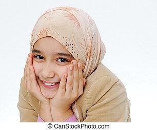 niña, musulmán