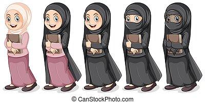 niña, musulmán, libro, tenencia