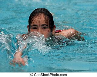 niña, natación