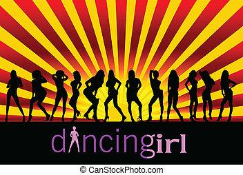niña negra, silueta, bailando
