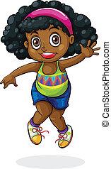 niña, negro, joven, bailando