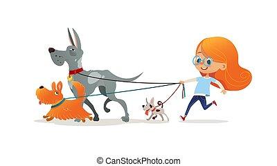 niña, niño, blanco, colorido, mascotas, vector, tres, leash., doggies., aislado, rojo, ella, corriente, pelo, caricatura, plano, adorable, illustration., fondo., ambulante, niño, lindo, poco, perro, pelirrojo