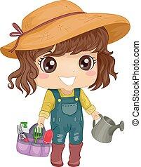 niña, niño, conjunto, herramienta, jardín