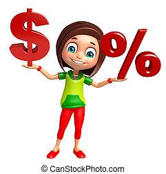 niña, niño, dólar, muestra del porcentaje