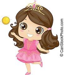 niña, niño, dorado, pelota, ilustración, princesa