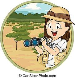 niña, niño, explorar, ilustración, sabana