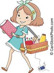 niña, niño, llevar, kit, costura
