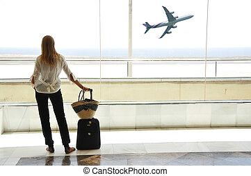 niña, océano, ventana, aeropuerto, mirar