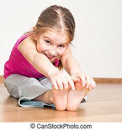 niña, ocupado, en, condición física