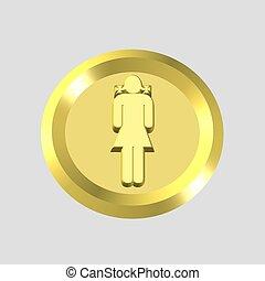 niña, oro, icono