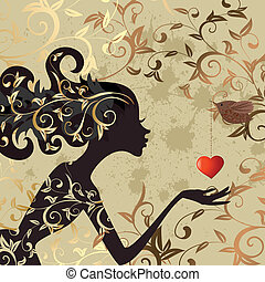 niña, pájaro, valentine