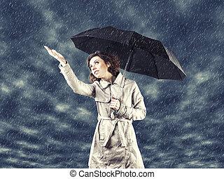 niña, paraguas