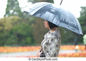 niña, paraguas, bastante