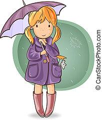 niña, paraguas, debajo