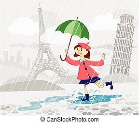 niña, paraguas, francés