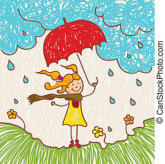niña, paraguas, rojo