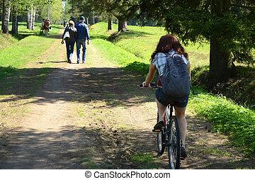 niña, paseos, un, bicicleta, en, verano, parque