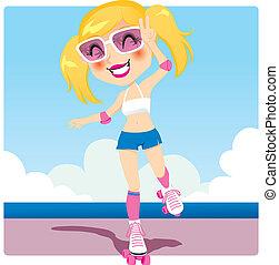 niña, patinador de rodillo
