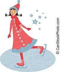niña, patinador