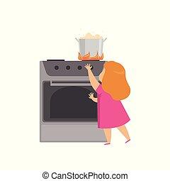 niña, peligroso, ilustración, cocina, caliente, vector, plano de fondo, situación, blanco, cazo, juego, niño