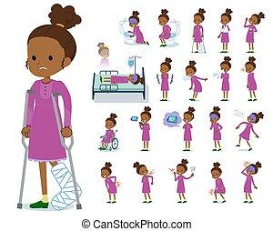 niña, pelo, negro, enfermedad, rizado, plano, tipo