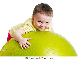 niña, pelota, aislado, gimnástico, niño