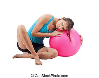 niña, pelota, condición física