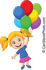niña, pelota, joven, caricatura, vuelo