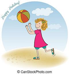 niña, pelota, playa, juego
