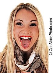niña, perforado, tongue., actuación