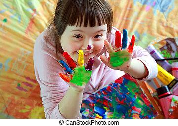 niña, pintado, lindo, poco, manos