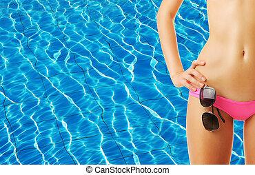 niña, piscina