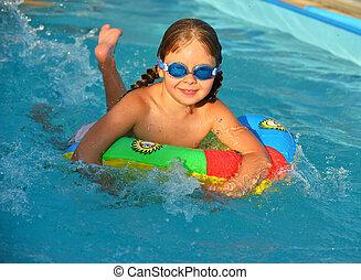niña, piscina, natación