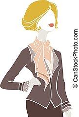 niña, plantilla, moda, postura, parisiense