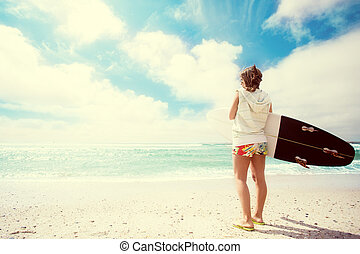 niña, playa, tablista