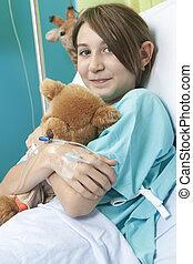 niña, poco, cama del hospital, enfermera