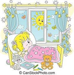 niña, poco, mañana, arriba, brillante, despertar, soleado