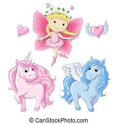 niña, poco, mariposa, lindo