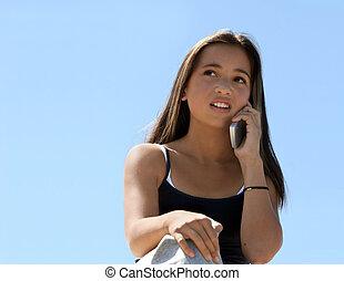 niña, por teléfono