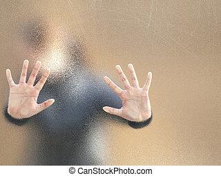 niña, por, vidrio deslustrado, silueta