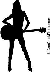 niña, posición, guitarra